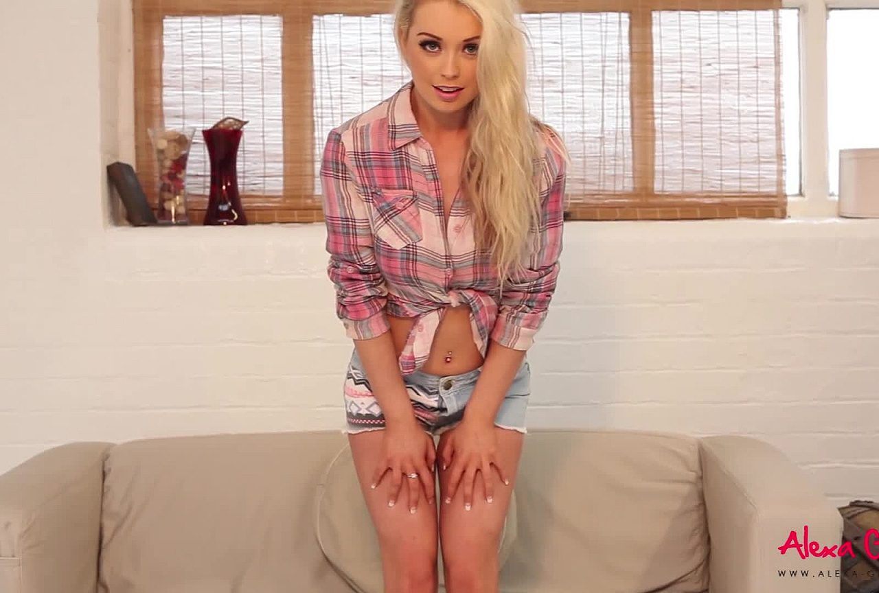 Alexa Tease - Denim Shorts on the Couch