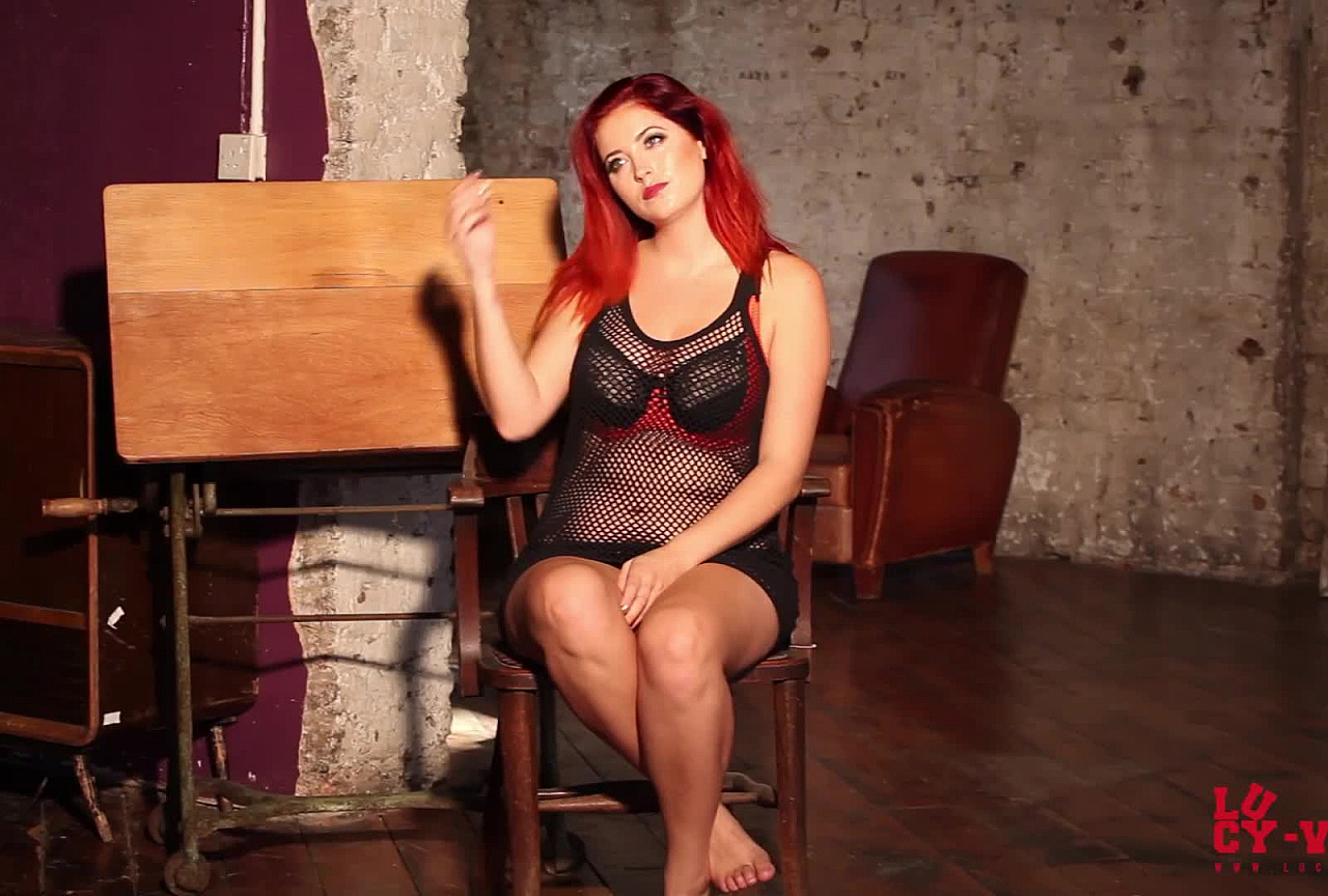 Lucy V BTS - Fishnet top & Black Lingerie