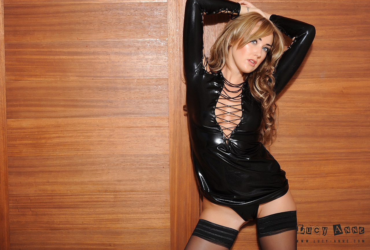 Tight black PVC outfit