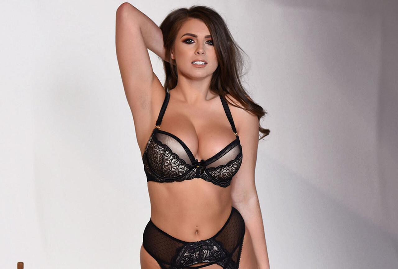 Sarah in Black Lingerie & Stockings