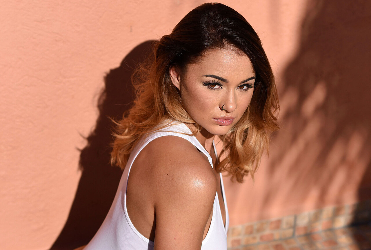 Mica Martinez Shooting in White Bodysuit