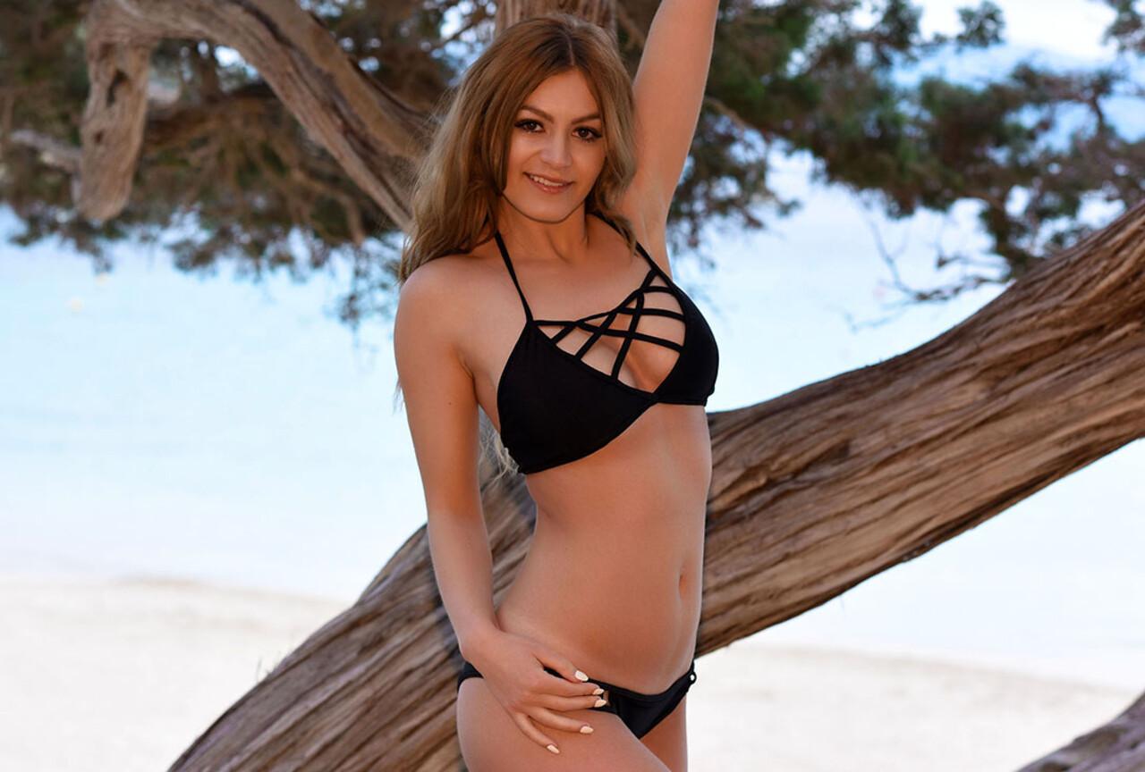 Summer in black bikini