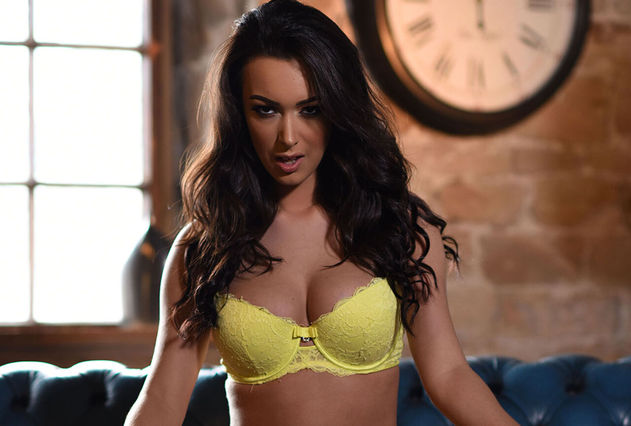 Lauren Strips From Her Yellow Lingerie