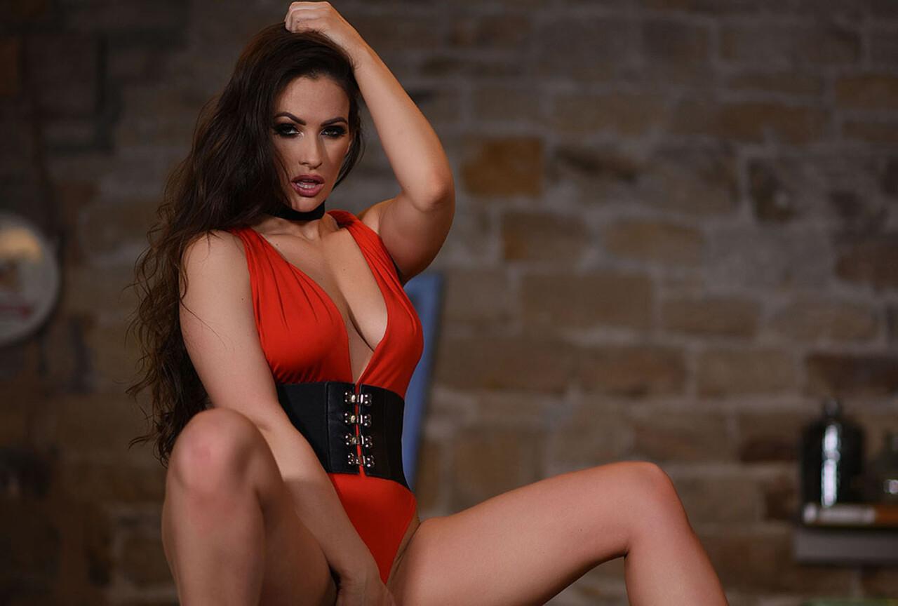 Anastasia Harris Teasing in Sexy Red Bodysuit