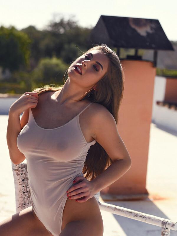 Sarah in Her Bodysuit Outdoors