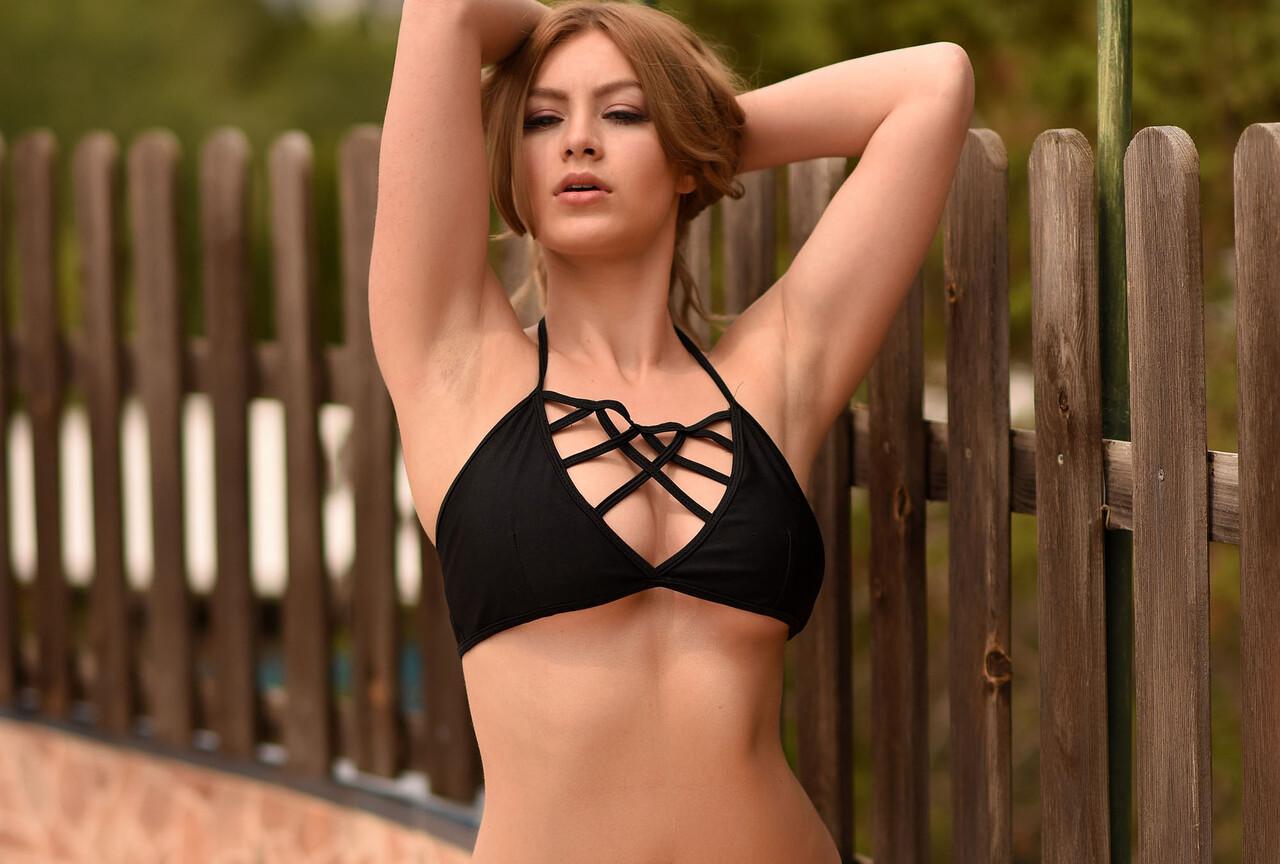 Summer Posing in Her Black Bikini