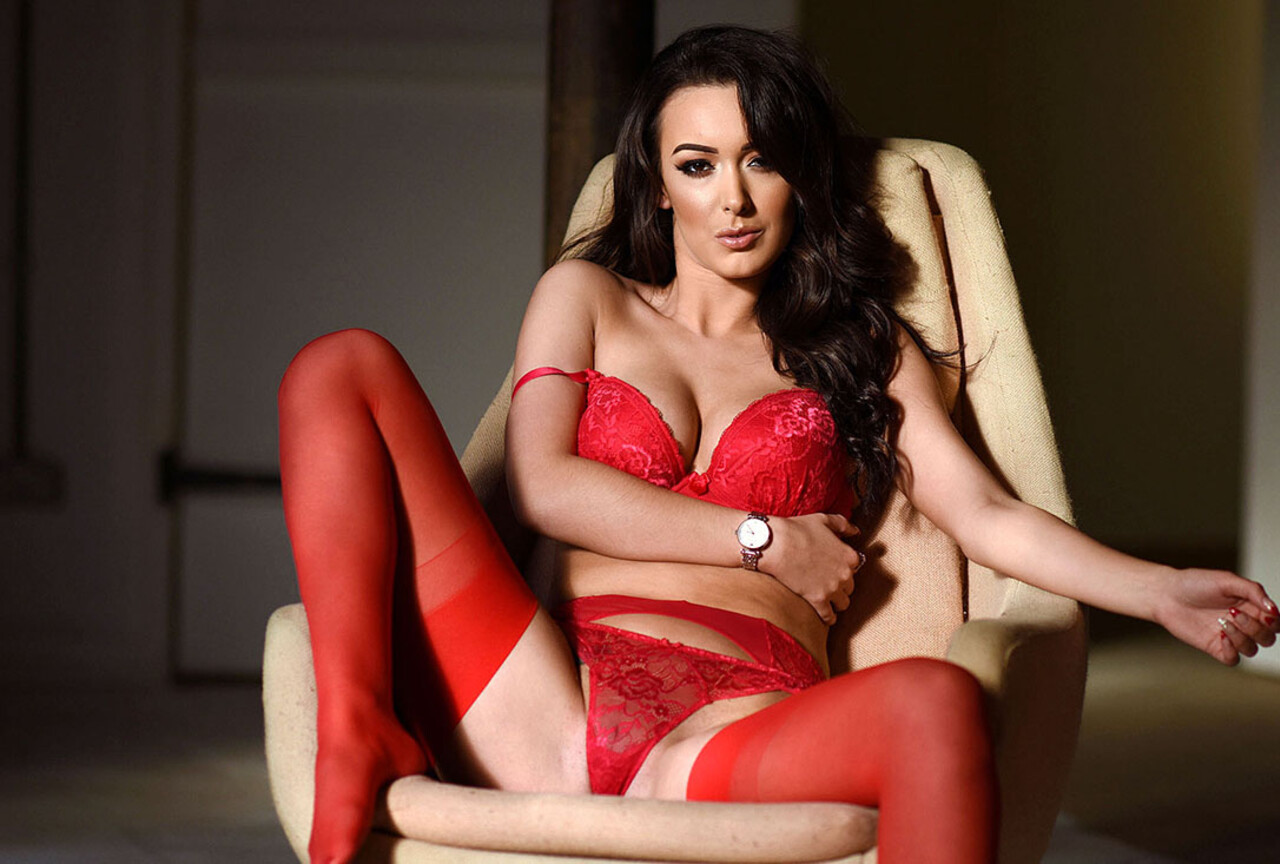 Lauren Louise In Sexy Red Lingerie