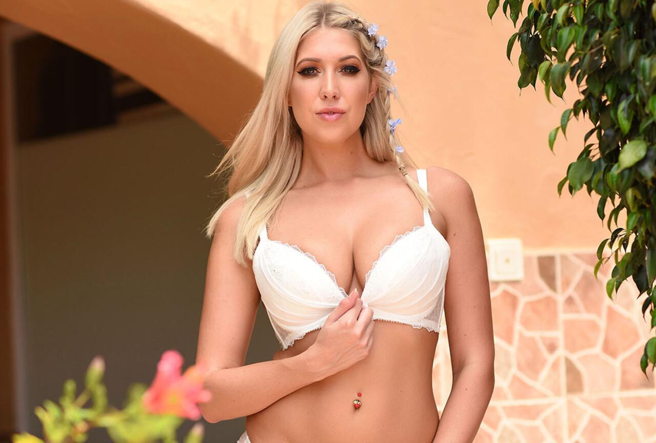 Lexi's lacy white lingerie