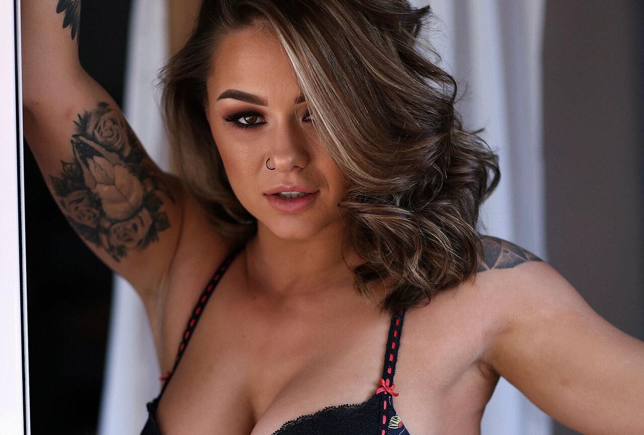 Mica strips Naked in Bedroom