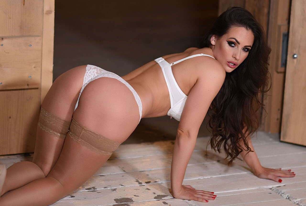 Anastasia Teasing in Sexy White Lingerie