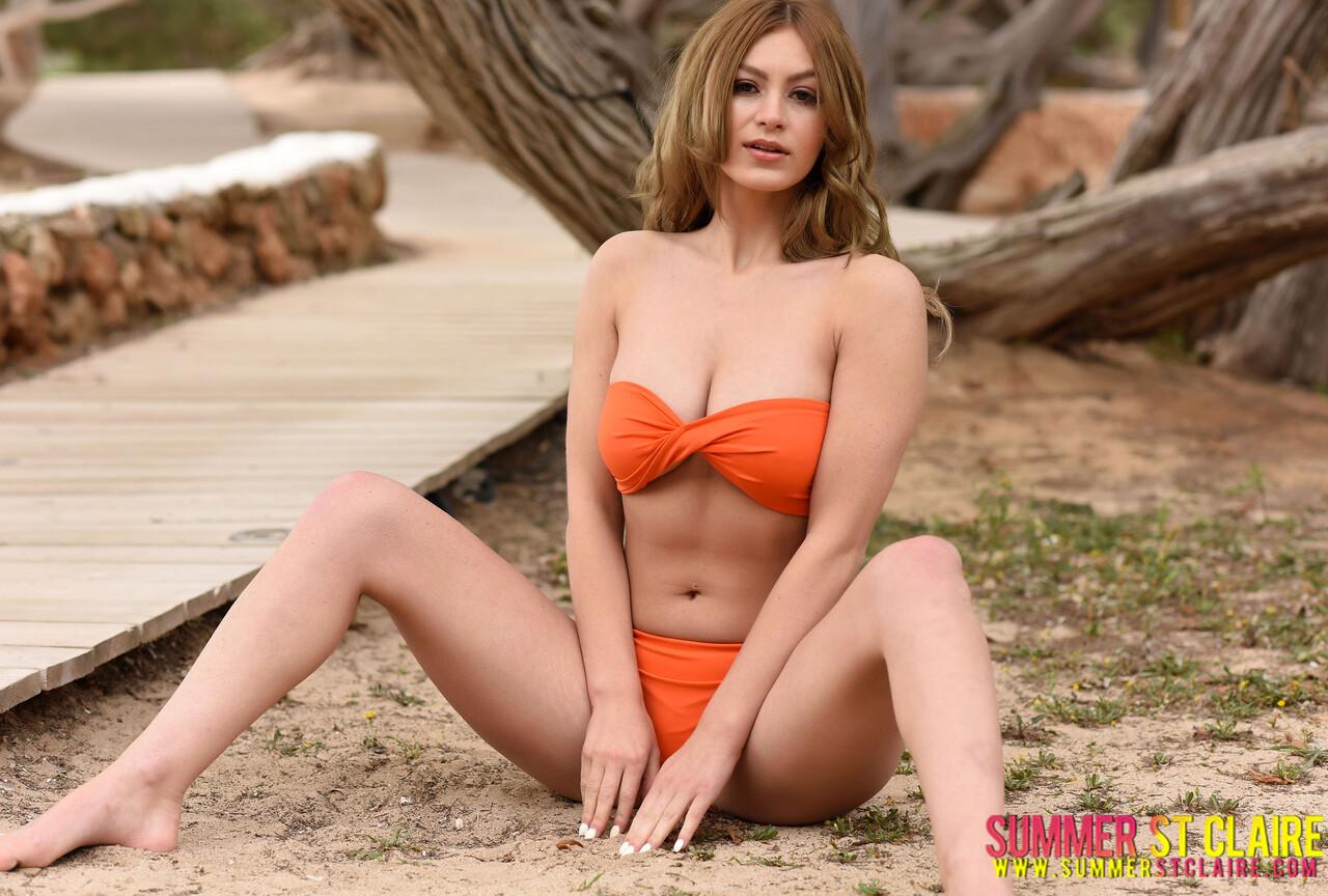 Summer in beautiful orange bikini