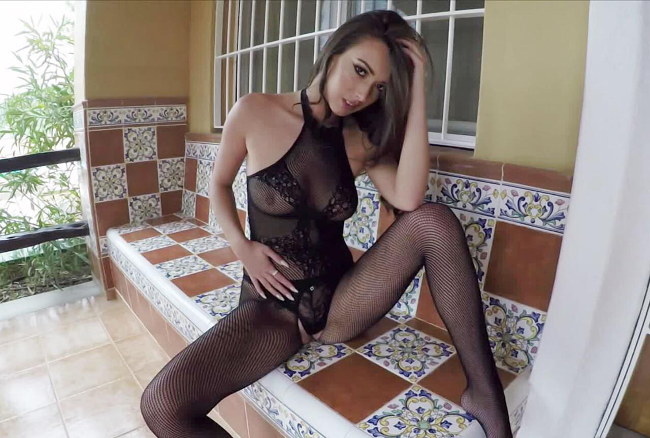 Lauren Strips Nude from Her Sexy Black Lingerie