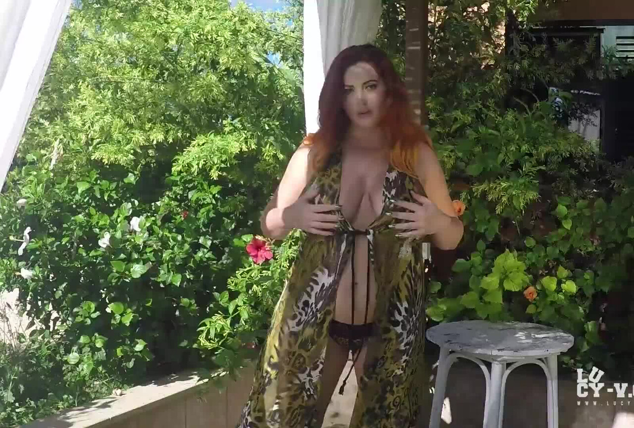 Lucy V Teasing in Animal Print Bikini