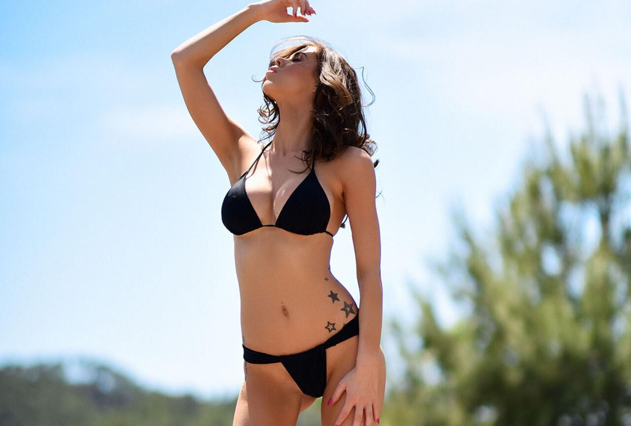 Jennifer Ann in black bikini BTS