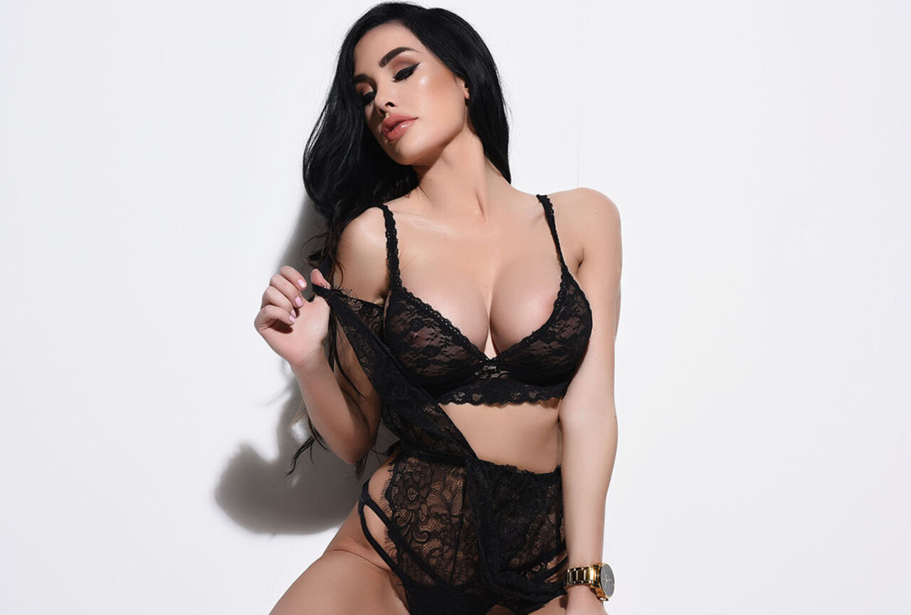Ann Denise in sexy black see through lingerie