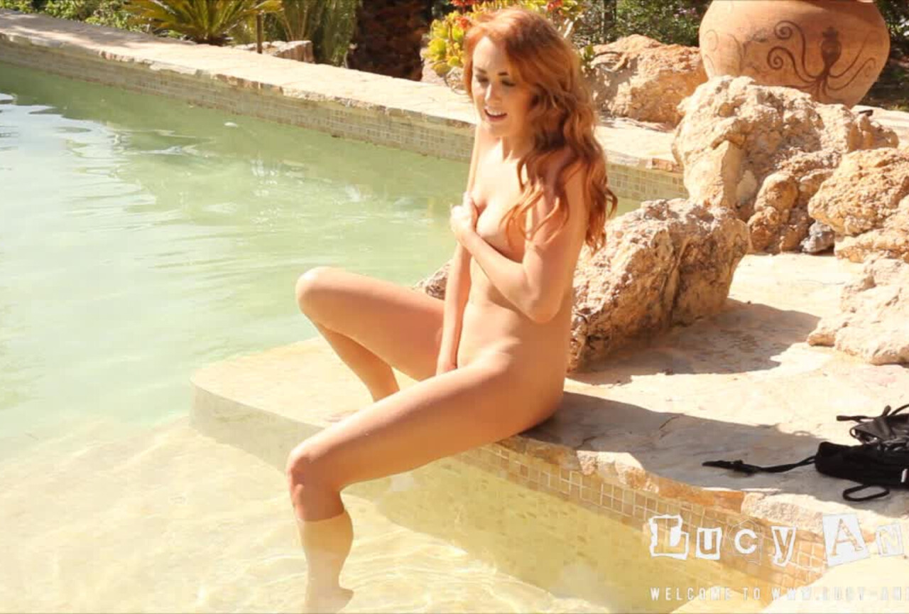 Lucy Anne strips nude from her bikini in the pool BTS