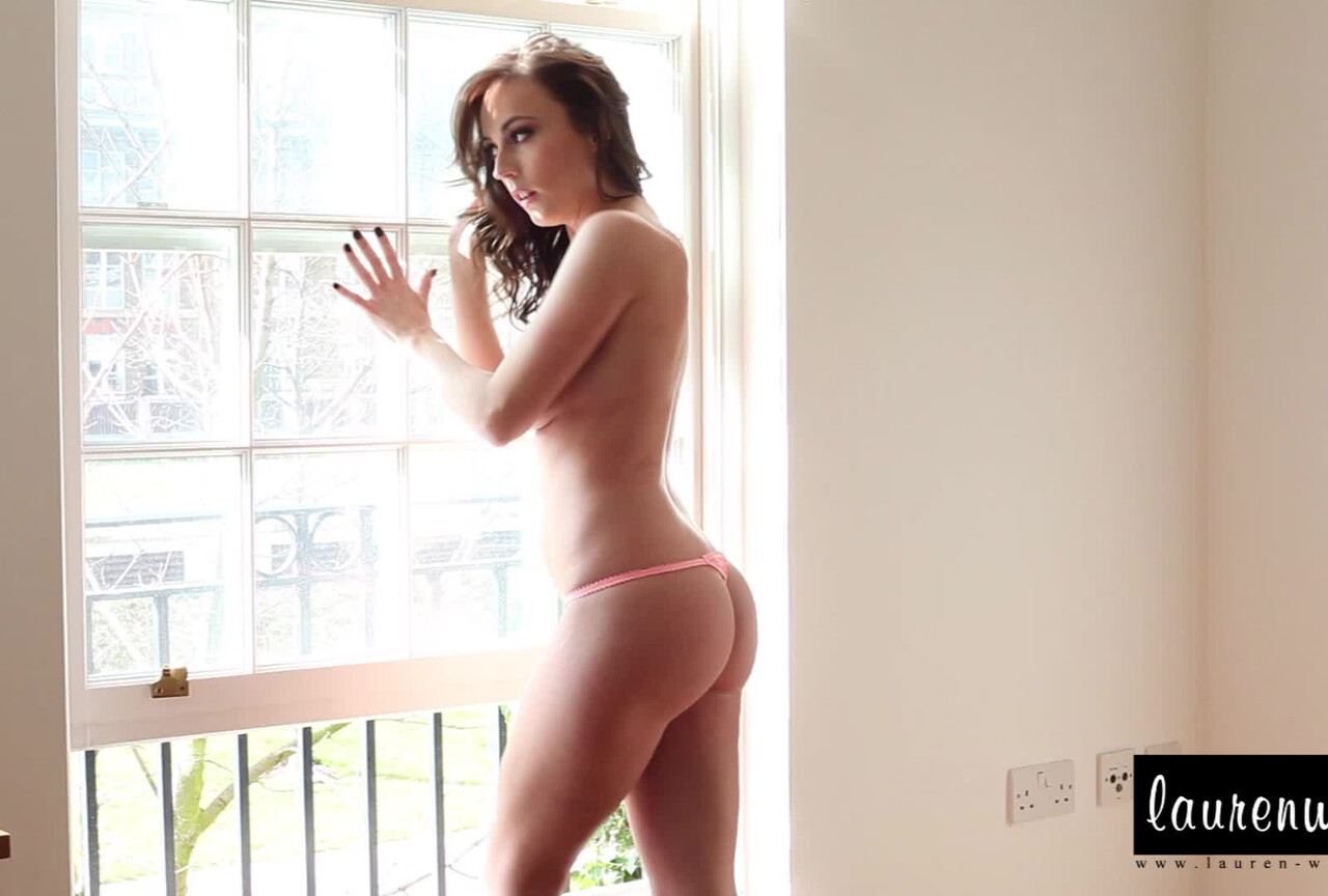 Stripping from her sexy pink lingerie BTS