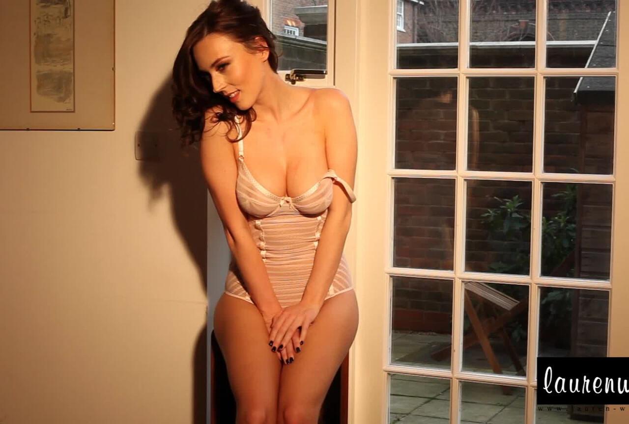 Lauren Wood strips from her sexy lingerie BTS